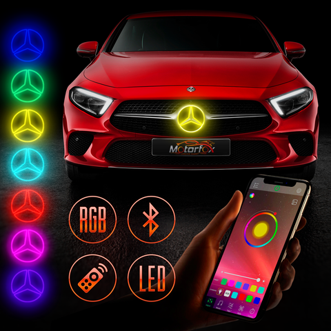 Mercedes Benz Multicolor LED  Emblem Silver / Black Controlled  From Smartphone  Bluetooth