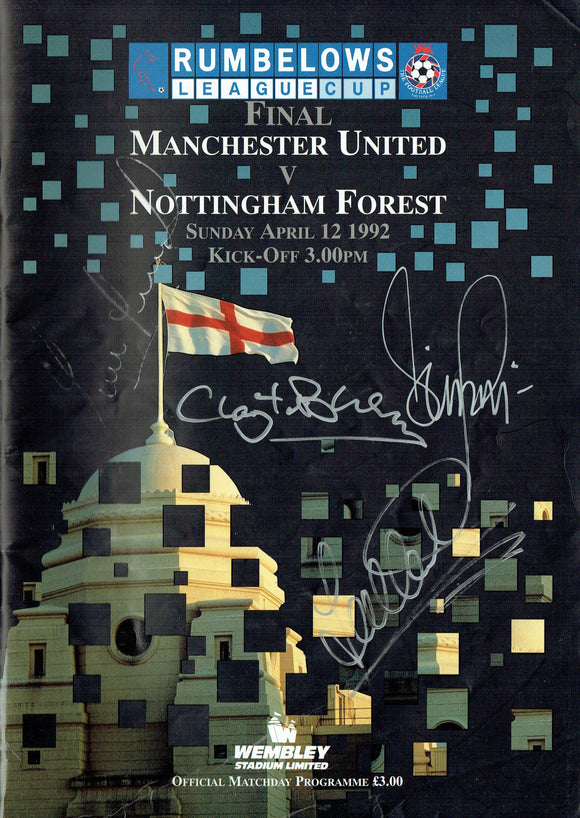 Manchester United v Nottingham Forest - 1992 Signed Rumbelows Cup Final Programme