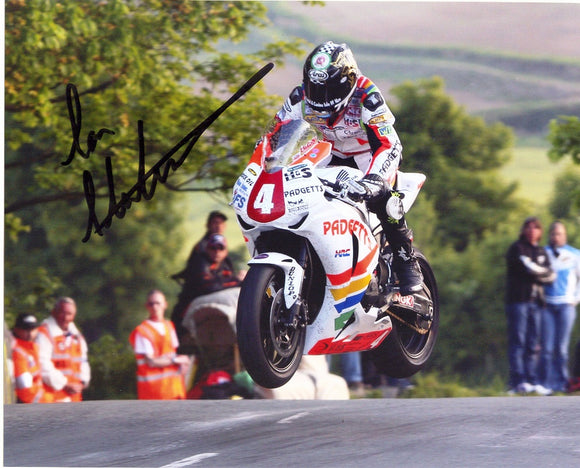 Ian Hutchinson - Ballaugh Bridge - TT 2010 - 10 x 8  Autographed Picture
