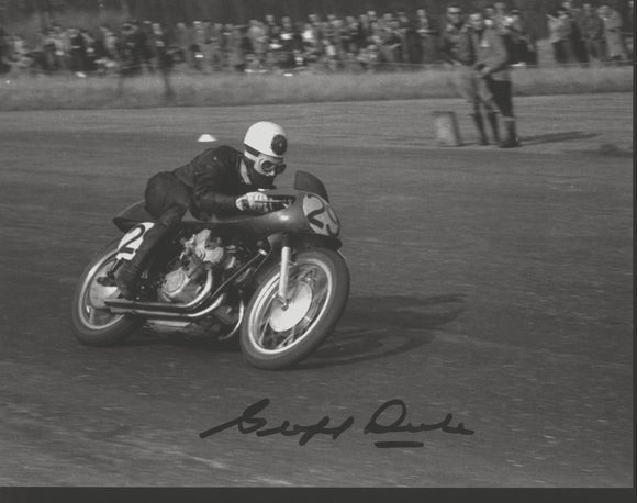 Geoff Duke - Silverstone - No 29 Bike - 10 x 8 Autographed Picture