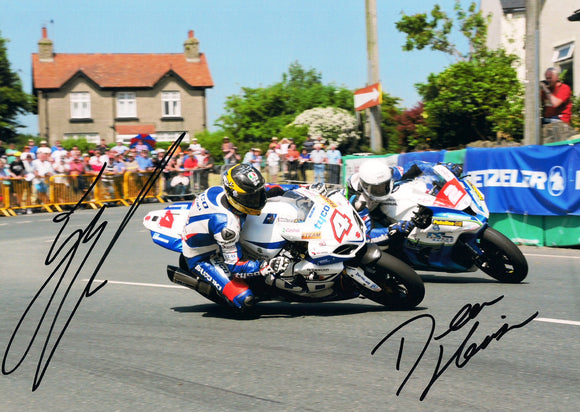 Guy Martin & Dean Harrison -Southern 100 - TT 2014 - 12 x 8 Autographed Picture