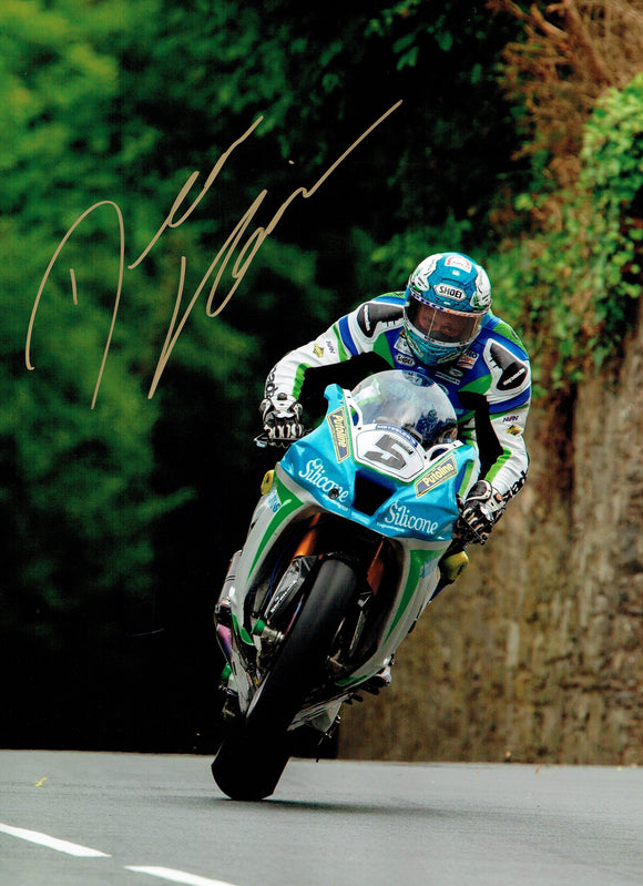 Dean Harrison - Quarter Bridge Approach - TT 2018 - 16 x 12 Autographed Picture