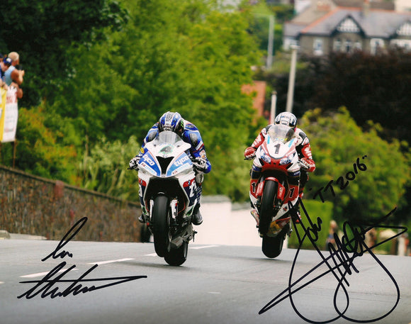 Ian Hutchinson & John McGuinness - TT 2016 - 16 x 12 Autographed Picture