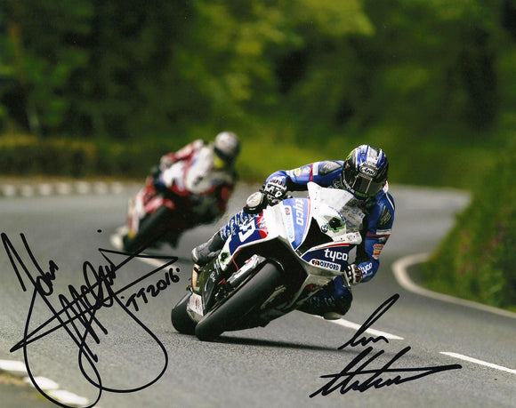 Ian Hutchinson & John McGuinness - TT 2016 - 10 x 8 Autographed Picture
