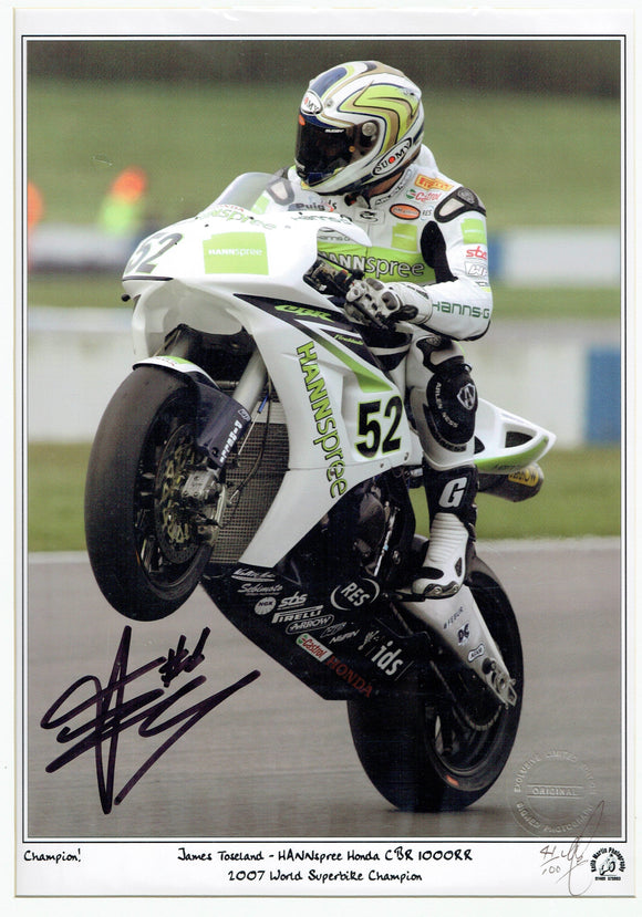 James Toseland - World Superbike 2007 - Ten Kate Honda - 16 x 12 Autographed Print.