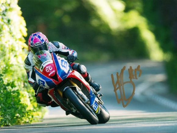 Lee Johnston - Greeba Castle - TT 2015 - 10 x 8 Autographed Picture