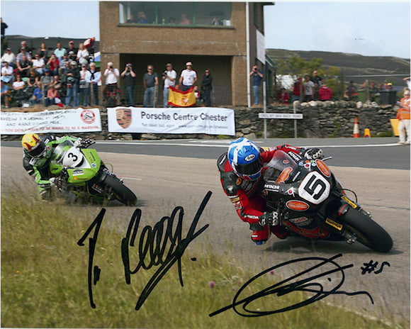 Ian Lougher & Keith Amor - Crec Ny Baa - TT 2010 - 16 x 12 Autographed Picture