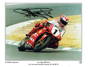 Carl Fogarty - Ducati - World Super-Bikes - 16 x 12 Mounted Autographed Print