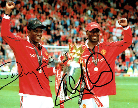 Andy Cole & Dwight Yorke - Manchester United - Treble - 12 x 8 Autographed Picture
