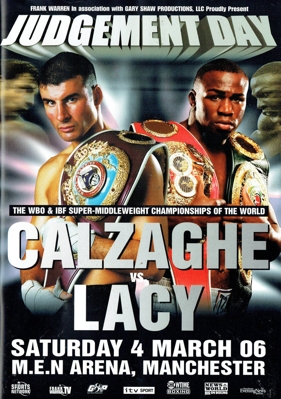 Joe Calzaghe v Lacy Fight Programme