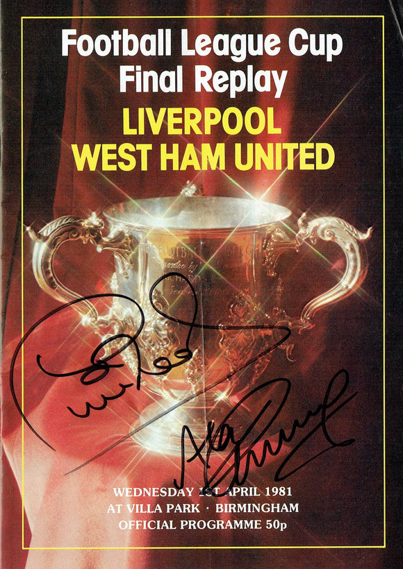 West Ham United v Liverpool - Dual Signed 1981 League Cup Final Replay Programme