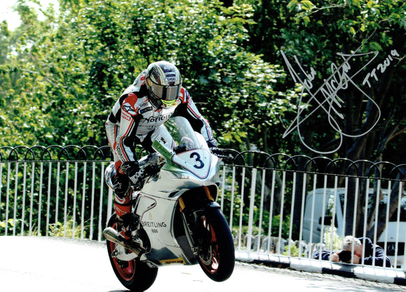 John McGuinness - Ballaugh Bridge - TT 2019 - 16 x 12 Inch Autographed Picture