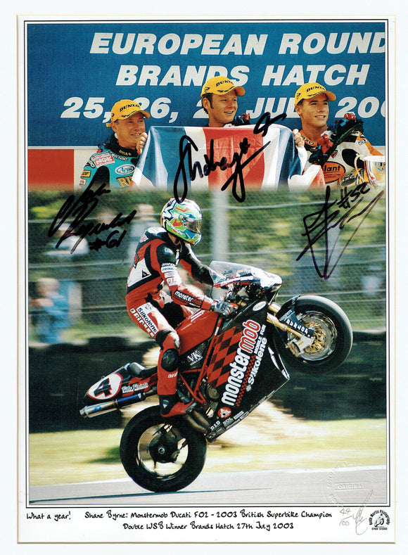 James Toseland / John Reynolds / Shane Byrne - World Superbikes - 16 x 12 Autographed Print