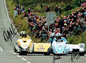 Dave Molyneux / Dan Sayle & John Holden / Lee Cain - Creg Ny Baa - TT 2017 - 16 x 12 Autographed Picture