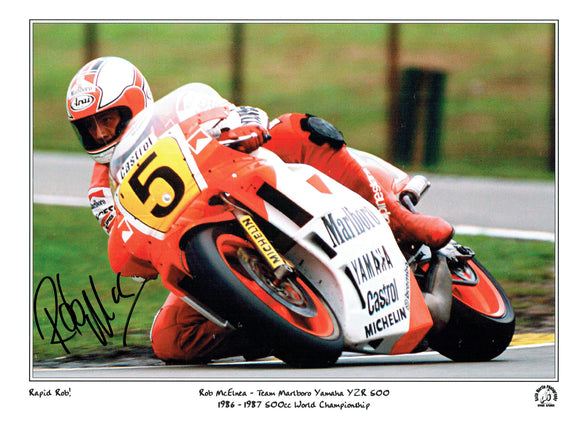 Rob McElna - 500cc World Championship - 16 x 12 Mounted Autographed Print