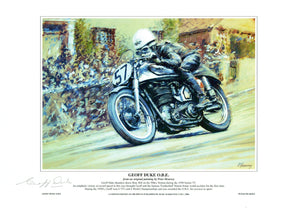 Geoff Duke - Bray Hill  - TT 1950 - 12 x 8 Autographed Limited Edition Print