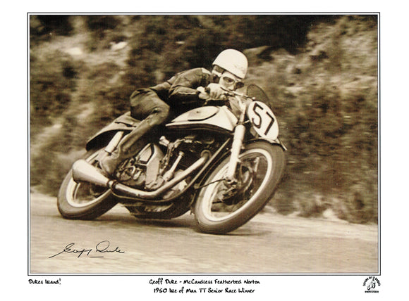 Geoff Duke - Governers Bridge - TT 1950 - 16 x 12 Autographed Limited Edition Print