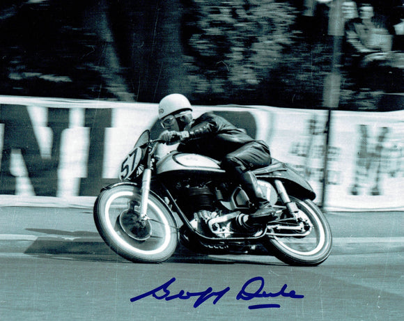 Geoff Duke - Quarter Bridge - No 57 Bike - 10 x 8 Autographed Picture