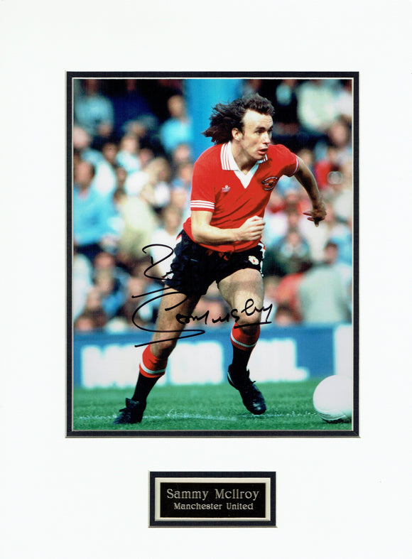 Sammy McIlroy - Manchester United - Mounted 12 x 8 Autographed Picture