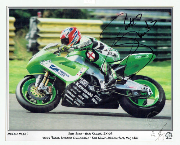 Scott Smart - British Superbikes - Hawk Kawasaki ZX10R - 16 x 12 Autographed Print