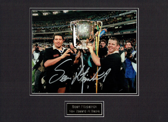 Sean Fitzpatrick - New Zealand All Blacks - 12 x 8 Mounted Autographed Picture.
