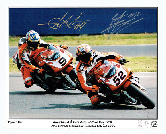 Chris Walker & James Toseland - World Superbikes - 16 x 12 Autographed Print