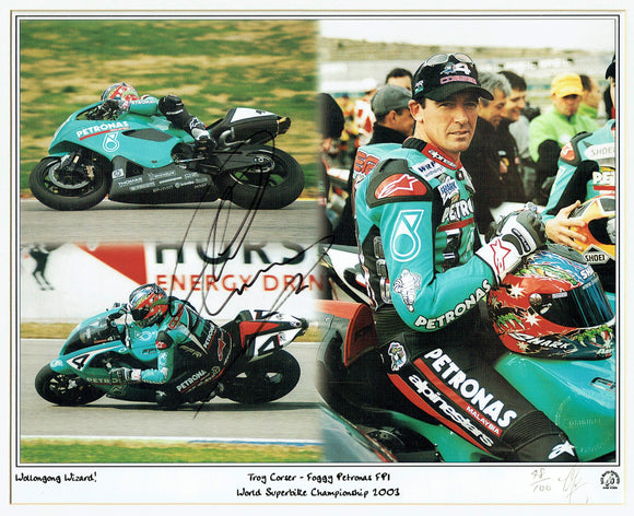 Troy Corser - World Superbikes - Foggy Petronas FP1 - 16 x 12 Autographed Print