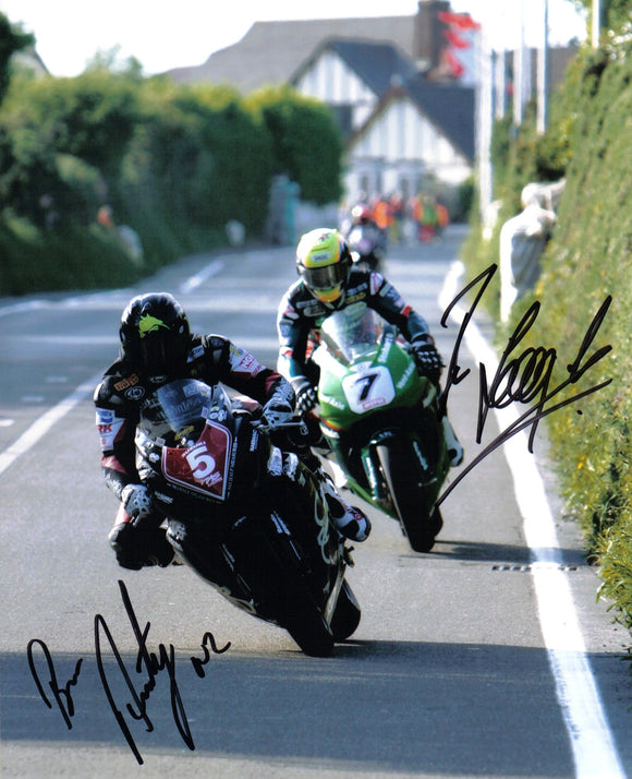 Bruce Anstey & Ian Lougher - Signpost Corner - TT 2006 - 10 x 8 Autographed Picture