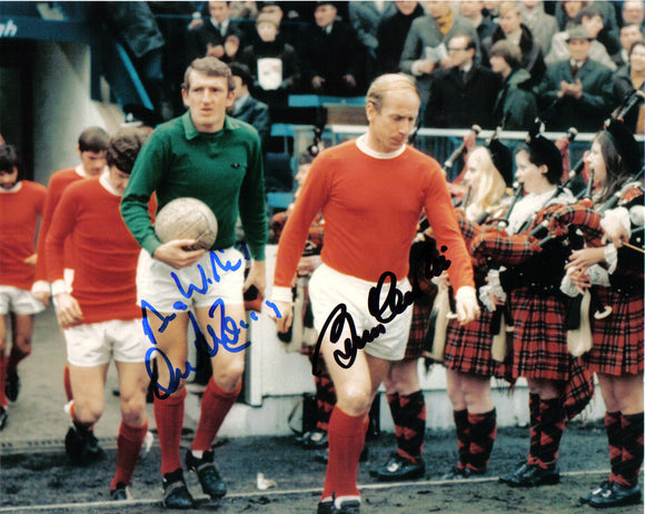 Sir Bobby Charlton & Alex Stepney - Manchester United - 10 x 8 Autographed Picture