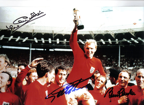 Geoff Hurst / Sir Bobby Charlton & Jack Charlton - 1966 World Cup Final - 12 x 8 Autographed Picture