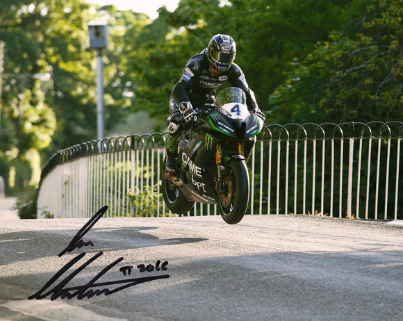 Ian Hutchinson - Ballaugh Bridge - TT 2016 - 10 x 8 Autographed Picture