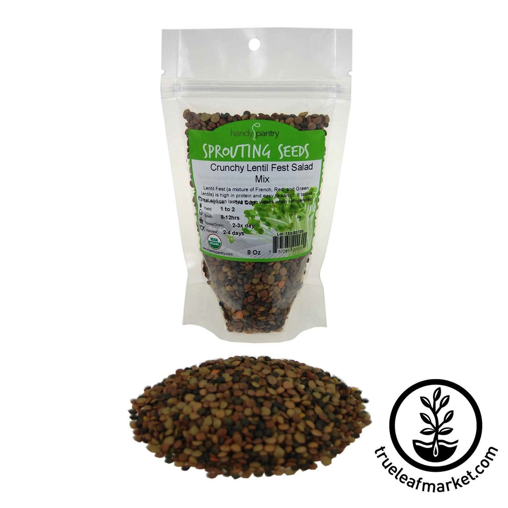 HANDY PANTRY CRUNCHY LENTIL FEST - ORGANIC SPROUTING SEED MIX 8OZ