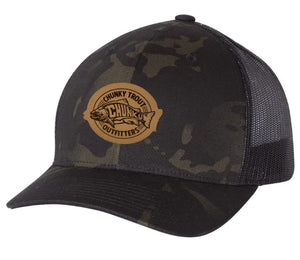 !Black Multicam SnapBack with Leather Patch