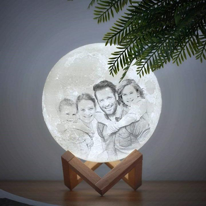 Custom 3D Moon Lamp, Personalized Gift With Your Photo, Desk Light, 3 Colors With Stand, Rechargeable, Birthday, Anniversary, Wedding Ideas