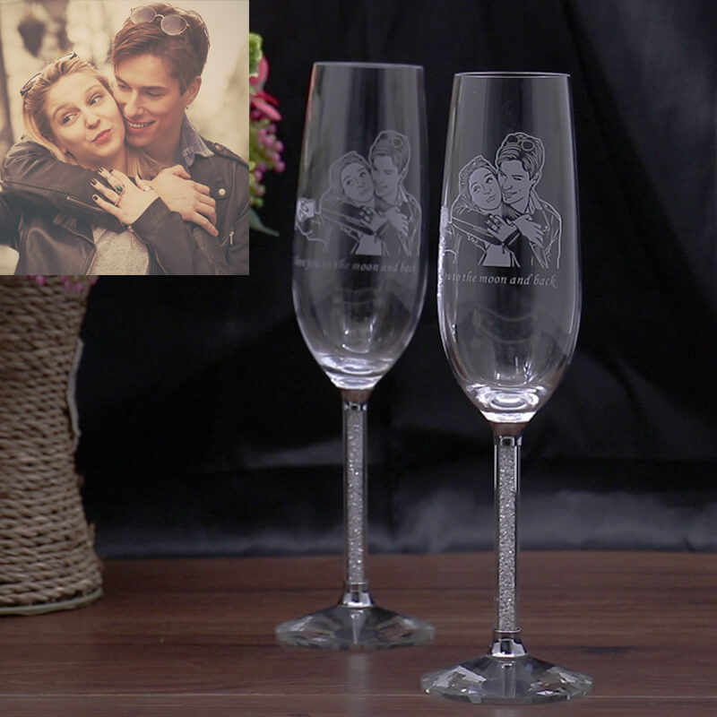 Custom Picture Toasting Flute Set, Engraved Name Crystal Champagne Cup, Personalized Photo Wine Glass, Best Wedding Birthday Gifts