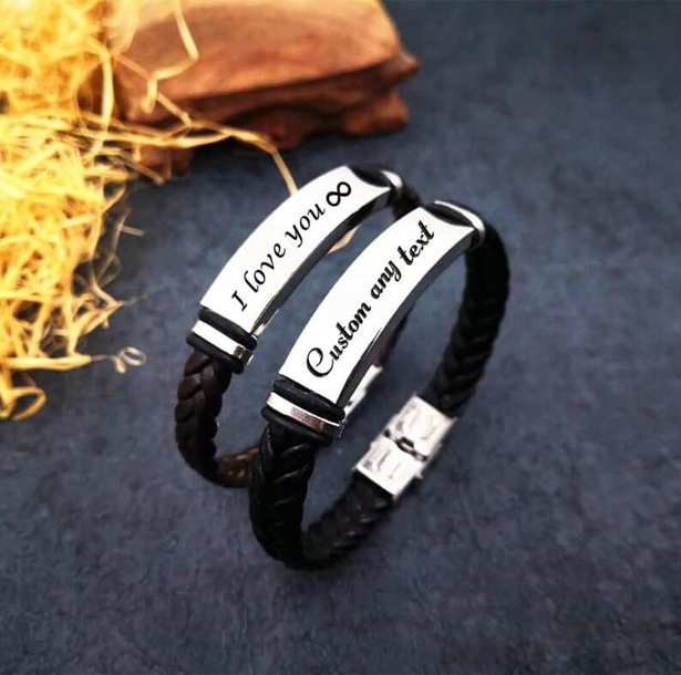 Personalized Men Leather Bracelet, Custom Name Engraved Bracelet, Braided Leather Bangle, Birthday Anniversary Gifts For Father, Boyfriend