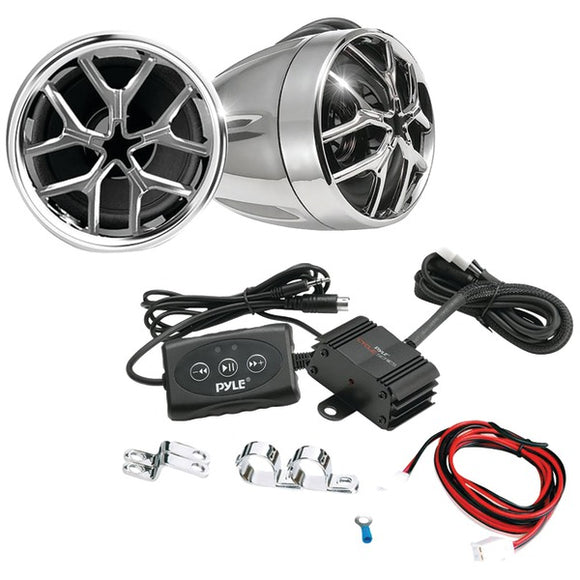 Pyle PLMCA51BT 1,400-Watt Mounted Motorcycle/ATV Amp & Handlebar Speakers w/ BT