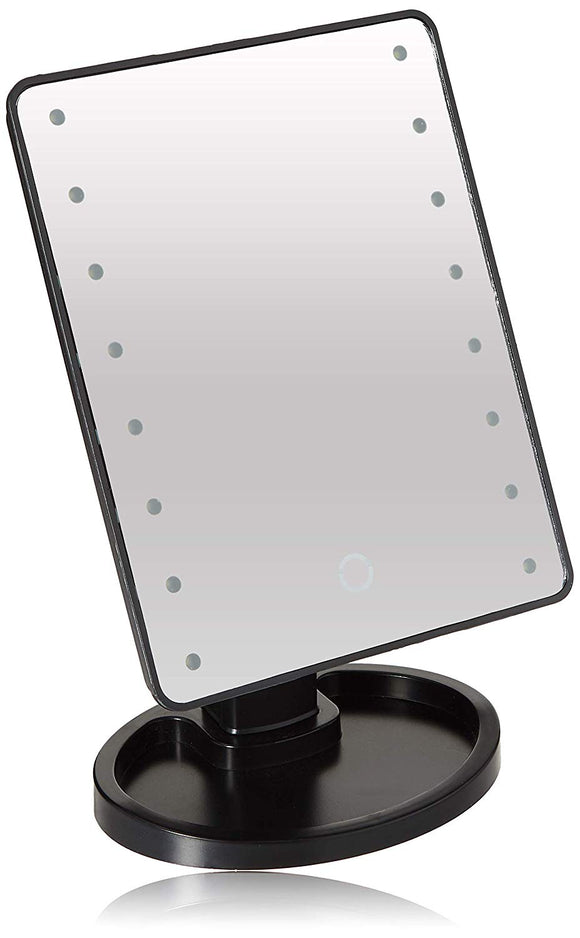 Ideaworks Light Up Mirror Large 16 LED Lights Rotating Mirror Magnifier Tray
