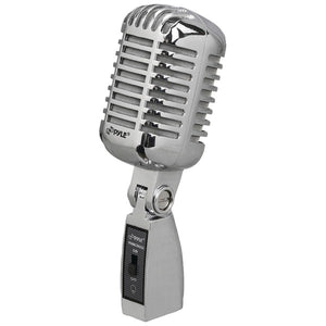 Pyle PDMICR42SL Classic Retro Vintage-Style Dynamic Vocal Microphone (Silver)
