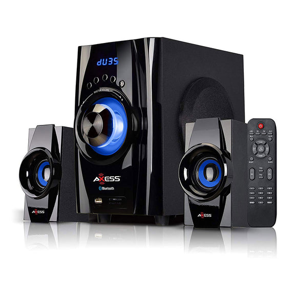 AXESS MSBT3901BL Bluetooth Mini System 2.1 Channel Home Theater Speaker Sys Blue