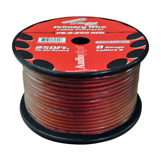 Audiopipe PS8RD 8 Gauge Flexible Power Cable Red 250 ft.