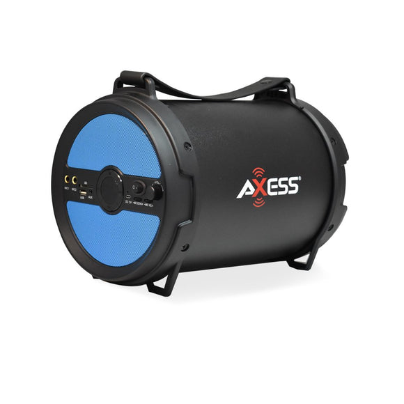 AXESS SPBT1040BL Portable Bluetooth Cylinder Loud Speaker Built-In 6