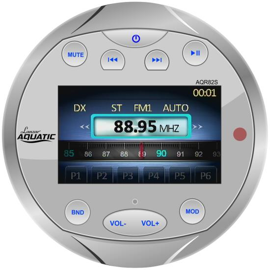Lanzar AQR82S Waterproof Bluetooth Marine Digital Stereo Radio MP3 AM/FM Silver