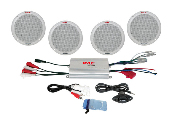 Pyle PLMRKT4A 4 Channel Waterproof MP3/ iPod Amplified 6.5'' Marine Speaker System