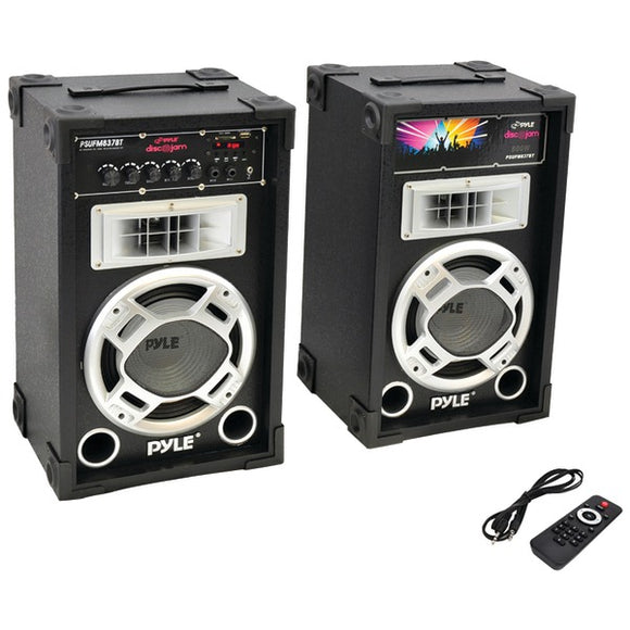 Pyle Pro PSUFM837BT 800 Watt Disco Jam Powered Two-Way PA Bluetooth Speaker System (Pair)