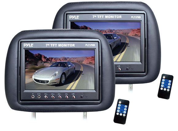 Pyle 7-Inch TFT-LCD Adjustable Headrest Pair Monitors, Built-in Speaker with a Wireless Remote Control. (PL71PHB)