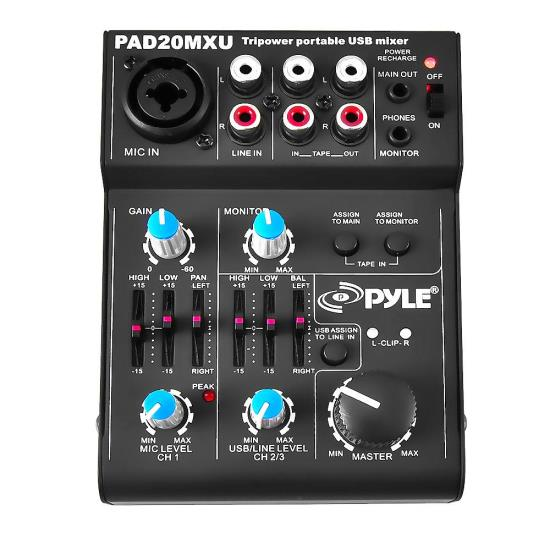 Pyle PAD20MXU 5-Channel Professional Compact Audio DJ Mixer With USB Interface