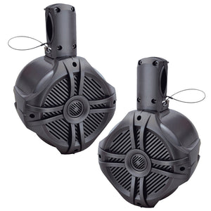 "Power Acoustik MWT80T Marine 8"" 750 Watt Wake Tower Speaker Titanium (Pair)"