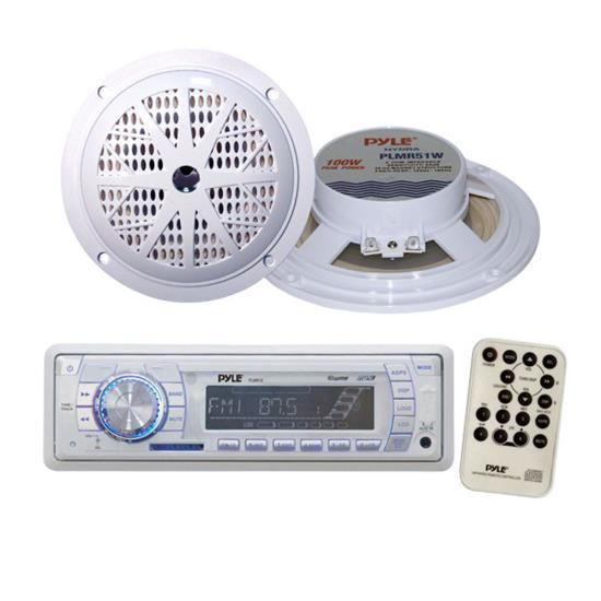 Marine Stereo AM/FM Radio Receiver USB/SD MP3 Player & 2 x 100W 5.25
