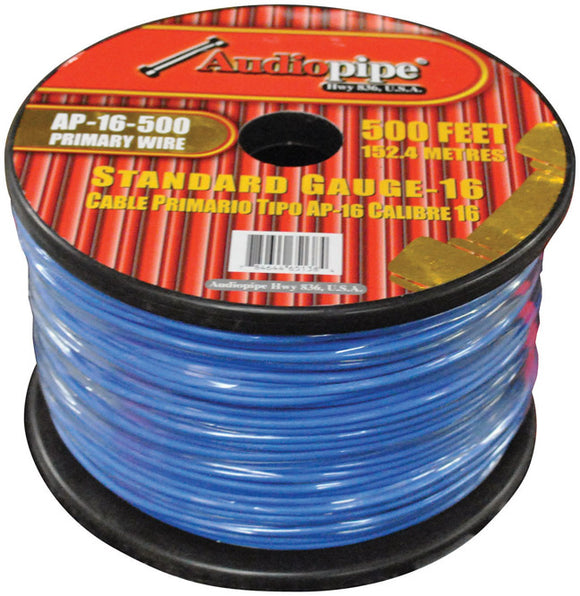 Audiopipe AP16500BL 16 Gauge 500Ft Primary Wire Blue